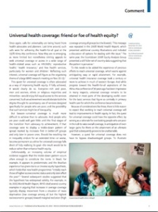 Universal health coverage - friend or foe